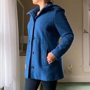 Lands' End boiled wool hooded pea coat teal blue